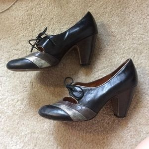 Aldo Shoes - ALDO Leather Closed Toe Lace Up Striped Heels